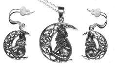 Lisa Parker 925 Sterling Silver Wolf Moon Necklace Earrings Set Celtic/Fantasy