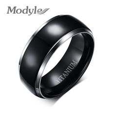 Modyle High Quality Men Titanium Rings Black Men Engagement Wedding Rings Jewelry 8mm Wide High Polished Ring Free Shipping