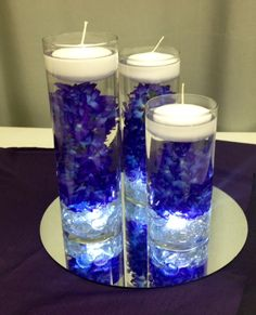 New Wedding Diy Centerpieces Rocks Ideas Royal Blue Centerpieces, Pearl Centerpiece, Floating Candle Centerpieces, Rustic Wedding Centerpieces, Diy Centerpieces, Wedding Table, Diy Wedding, Royal Blue Wedding Decorations, Wedding Ideas