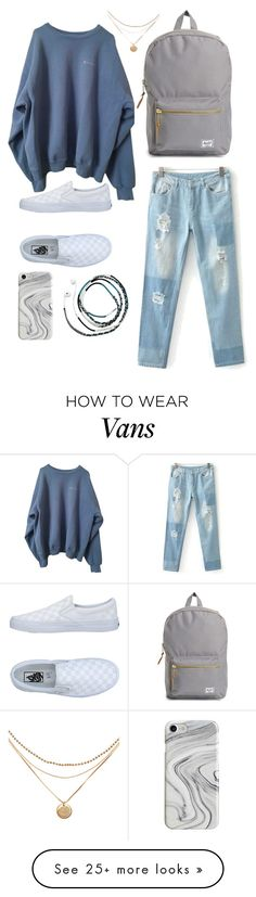 """School"" by kpescobar on Polyvore featuring Vans, Recover, Sarina and Herschel Supply Co."