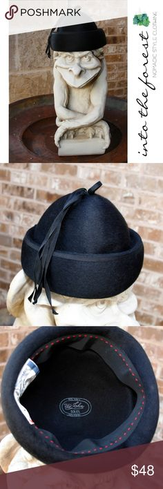 """Vintage Mr. John Black Classic 100% Wool Hat Wonderful vintage hat by famous designer Mr. John. Excellent condition with little wear.  ● Inside circumference 21"""", Height 6"""". ● 100% Wool.  ● Smoke-free home and fast shipper! Mr. John Accessories Hats"""