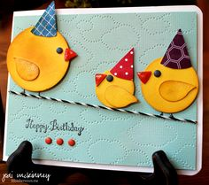 child birthday card punch art birds on wire
