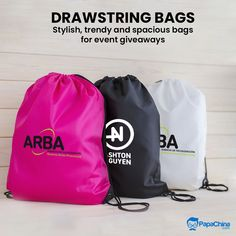 Stylish, trendy and spacious bags for event giveaways. #bags #drawstring #backpacks #stylish #promotion #wholesale #Marketing #Advertising #Trending #events #Giveaway #giftideas #gift Custom Drawstring Bags, Drawstring Backpack, Promotional Bags, Picnic Bag, Wholesale Bags, Luggage Bags, Giveaways, Advertising, Events