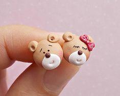 Bear Earrings - Bear Jewelry - Bear Lover Gift - Cute Earrings - Bear Stud Earrings - Bear Gifts