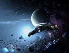 Repairs in asteroid field (Repairng space ship), Voxmortem, AbikK