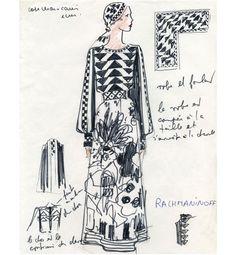 Karl Lagerfeld pour Chloé, robe Rachmaninoff, printemps-été 1972 http://www.vogue.fr/mode/inspirations/diaporama/la-femme-chloe-s-expose-au-palais-de-tokyo/9928/image/614863#karl-lagerfeld-pour-chloe-robe-rachmaninoff-printemps-ete-1972