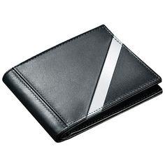 Leather Tech Crossing Bill Fold Wallet, Black/Silver by Stewart/Stand