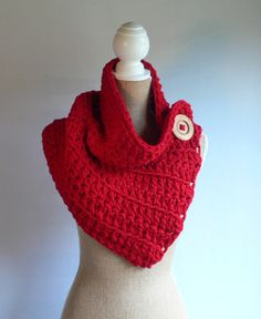 Red Crochet Cowl, Red Scarf, Crochet Cowl, Winter Cowl, Button Scarf, Crochet Shrug, Womens Accessories, Winter Scarf, by CTDESIGNSBESPOKEBAGS on Etsy