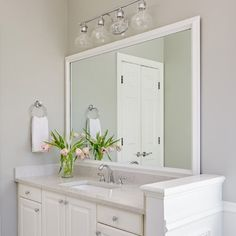 10 Delightful, DIY Bathroom Mirror Ideas (Bathroom mirror ideas) for Small Spaces Ideas - Large Bathroom Mirrors, Bathroom Mirror Makeover, Diy Vanity Mirror, Modern Bathroom, Master Bathroom, Bathroom Ideas, Bathroom Small, Framed Mirrors, Mirror Framing
