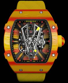 Richard Mille RM Rafael Nadal Watch With A Tourbillon To Withstand G's Watch Releases Richard Mille, Stylish Watches, Luxury Watches For Men, Cool Watches, Man Watches, Swatch, Rafael Nadal Watch, Rafa Nadal, Skeleton Watches