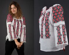 Romanian embroidery - handmade Romanian blouse - ie romaneasca