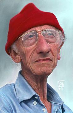 Caricatura de Jacques Cousteau.