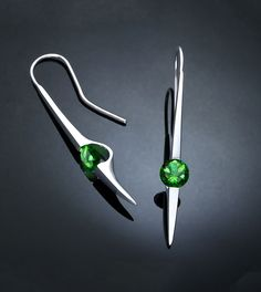 Contemporary Earrings  Dangle  Green Topaz  by VerbenaPlaceJewelry, $164.00