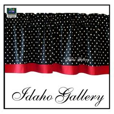 Polka Dot Black White Red Kitchen Curtain or Bedroom Valance. (replace red with white and add green ricrack)