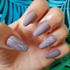 "My Nails, Matte grey coffin nails 2 Likes, 1 Comments - Samantha (@samijayne66) on Instagram: ""Claws done again #mattegrey with #freehand white design #mattenails #coffinnails #nailinspo…"""