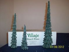 Dept 56 Dickens' Village - Pencil Pines - Set of 3 Dept 56 Dickens Village, Villas, Village Houses, Department 56, Xmas, Christmas, Pencil, Tiny House, Display