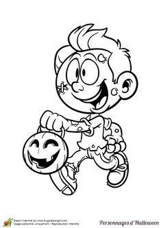 A colorier, le garçon déguisé en zombie