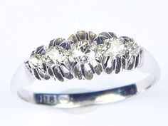 A wonderful antique Edwardian English, solid 18 carat white gold (hallmarked) diamond ring. Beautifully made, with gently tapering D-shaped band and expanding high galleried head, set with five sparkling white old mine-cut diamonds. Antique Gold Rings, White Gold, Wedding Rings, English, Engagement Rings, Stone, Diamond, Antiques, Ebay
