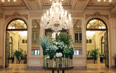 Lisianthus, Campanula, Lily, Hydrangea, and Berry Viburnum come together to make an enchanting welcome at The Plaza Hotel. Hotel Flowers, Gramercy Park, Plaza Hotel, Hydrangea, Berry, Lily, Explore, Mansions, House Styles