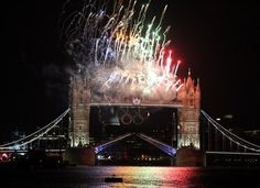 Fireworks light up Tower Bridge during opening festivities of the 2012 Olympic Games in London.