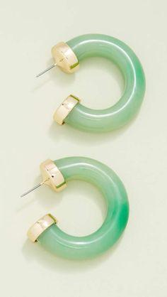 Jade small thick hoop earrings by Kenneth Jay Lane Statement Earrings, Hoop Earrings, Sarah Jessica Parker, Kenneth Jay Lane, Classic Beauty, Designer Earrings, Designing Women, Jade, Funky Jewelry