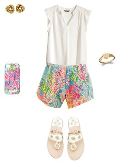 """Lilly Pulitzer Tag!"" by liprep ❤ liked on Polyvore featuring H&M, Jack Rogers, Lilly Pulitzer and Ginette NY"