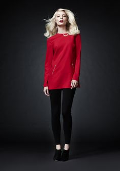 A classic look - and another great pin for our contest! For those times when you want to keep it simple, pair a red tunic over ponte pants, from Calvin Klein