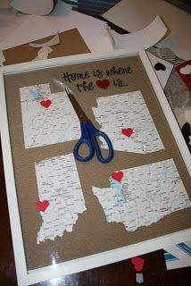 I saw this idea on pinterest but the maps were in a floating frame. I just used a regular frame and took the mat out. The crinkled cardboard came with this frame so I used it as my backdrop. This frame is a 14×18″ frame. Wanna make your own?? It's really quite easy. Simply go toTHIS WEBSITE and find the maps of the states you have lived in and print the maps(click on the print PDF reference map). When printing  {Read More}
