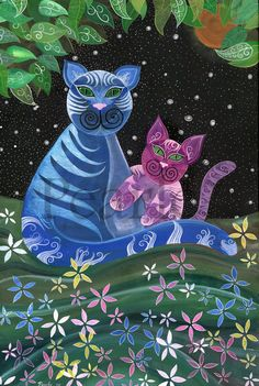 Cat Art... =^. ^=... ❤... Cats ♥... Folk Art: Cats... By Artist Pearle...Of Pearles Painting...