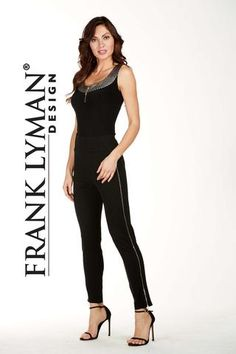 Frank Lyman 2017. Chic ponte pant with zipper sides.