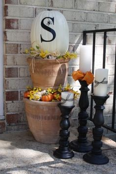Front porch for Fall - someday when decorating our front porch makes any sense!