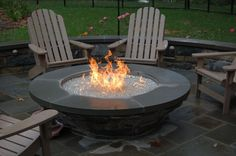 Fire Pit, Contemporary Patio Large Round Decorative Black Stamped Concrete Gas Fire Pits For Sale Clear Reflective Glass Rocks Propane Burner: Recommended Gas Fire Pits For Sale