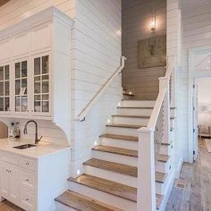 Houses with stairs beach bungalow wet bar next to staircase house stairs stairs to attic open Basement Bar Designs, Home Bar Designs, Basement Ideas, Beach Cottage Style, Beach Cottage Decor, Beach House, Cottage Ideas, Coastal Style, Foyers