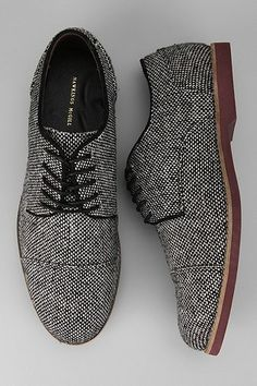 black and white wool oxfords