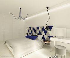 Projekt jasnej sypialni z szarymi i kobaltowymi akcentami - panelami Triada od Fluffo