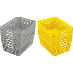 Classroom Baskets Large Rectangle Set Of 12 Gray And Yellow