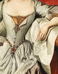 Carl Van Loo. Detail from Portrait of Empress Elisabeth Christine, Princess of Brunswick-Wolfenbüttel, 18th Century.