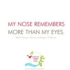 My nose remembers more than my eyes. - Phyllis Theroux, The Journal Keeper: A Memoir. The garden is constantly exhaling feelings and memories in the form of fragrance. Create memories for yourself and to share with others. Work with a healing garden designer to create your personal serenity comfort zone. Click to join us in our crusade to cultivate your own #HealingGardenHappyPlace. | Red Bird Restorative Gardens