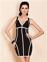 TS Deep V Neck Contrast Color Bodycon Vest Dress