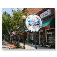 Historic Norcross: S. Peachtree Street Scene Postcard by NevaSpellPhotography