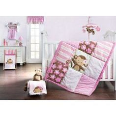 Girls Monkey Crib Bedding Girls Monkey Crib Bedding one of the cutest and playful themes for a baby girl's nursery. Monkey themes are very popular today Monkey Baby Rooms, Monkey Nursery, Monkey Girl, Girl Nursery, Nursery Ideas, Monkey Bedroom, Nursery Room, Nursery Decor, Room Ideas