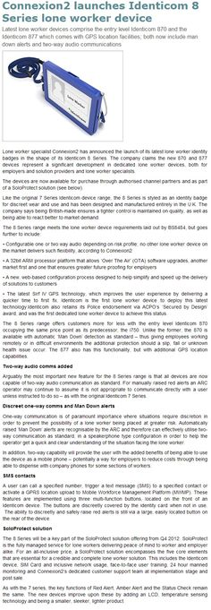 Connexion2 Launches Identicom 8 Series Lone Worker Device