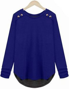 Blue Long Sleeve Back Split Loose T-Shirt EUR€16.35