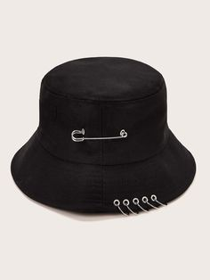 Shop Ring Decor Bucket Hat at ROMWE, discover more fashion styles online. Aesthetic Grunge Outfit, Aesthetic Clothes, Look 80s, Black Bucket Hat, Winter Stil, Mein Style, Accesorios Casual, Cute Hats, Fashion Online