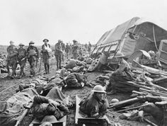 FIRST WORLD WAR 1914 - 1918 WESTERN FRONT (E(AUS) 711)   Walking and stretcher-case wounded of the 1st and 2nd Division Australian Infantry on the Menin Road after the battle