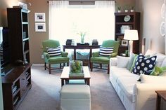 Green, Navy & White Living Room by It's Great To Be Home, via Flickr