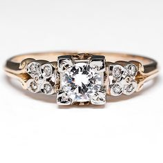 LOVE this two-tone Retro Vintage Diamond Engagement Ring w/ Accents 14K Gold 1940's