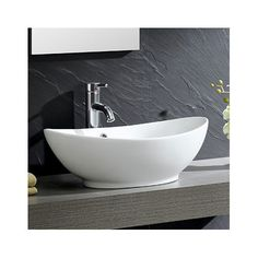 Found it at Wayfair - Modern Vitreous Oval Vessel Bathroom Sink with Overflow