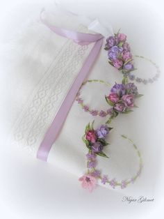 Ribbon flowers, embroidery, Nigar Hikmet, towel