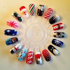 nail art, christmas nail art, christmas, holiday nails, christmas nails, ho, santa, santa clause, snowman, reindeer, snow, candy cane